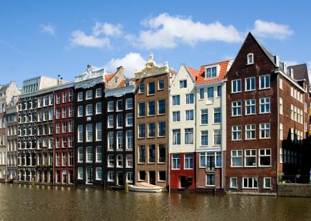Gevel van huizen in Amsterdam, Nederland Stockfoto