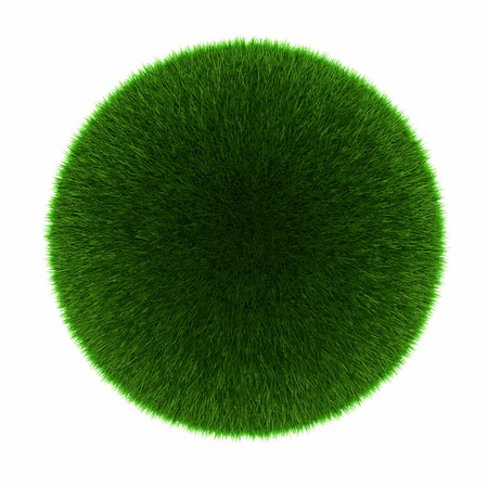Green grass ball  Isolated on white  photo