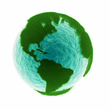 grass earth with water - global warming Stock Photo
