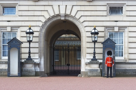 sentry: Sentry on duty at Buckingham Palace
