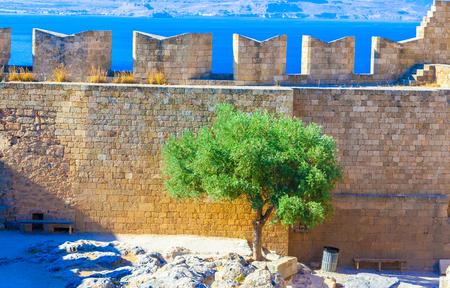 lindos: Greece trip 2015, Rhodos island, Lindos, Acropolis of Lindos Stock Photo