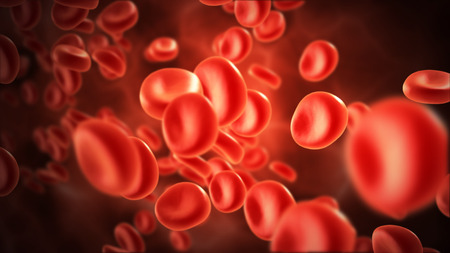 microcosmic: streaming blood cells in vein with depth of field