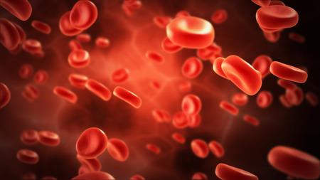 red blood cell: streaming de células de la sangre en la vena con profundidad de campo Foto de archivo