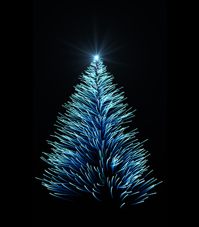 intro: Shining Christmas tree with sparkles and particulars Stock Photo