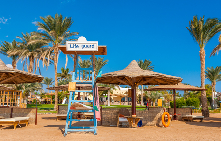 a place of life: Dahab, Sinai Peninsula, Egypt, Place for Life guard at the coast of red sea Stock Photo