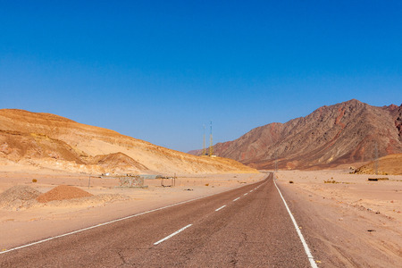 sinai desert: Dahab, Sinai Peninsula, Egypt, Road and Mountains in the Sinai desert