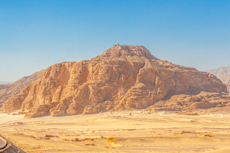 sinai peninsula: Dahab, Sinai Peninsula, Egypt, Road and Mountains in the Sinai desert