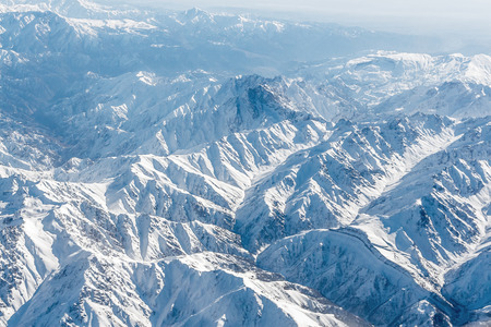 Aerial view of snow-capped Himalayas