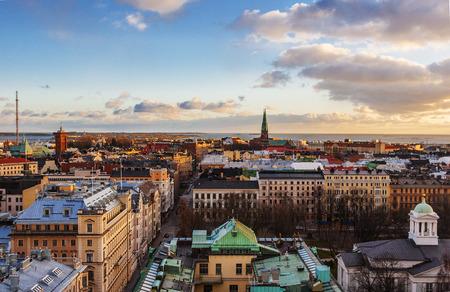 フィンランドの首都、ヘルシンキの空撮