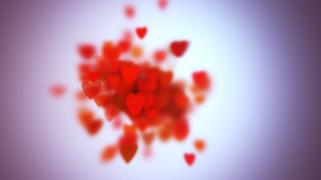 slow motion: Hearts with depth of field, Valentines Day background Stock Photo