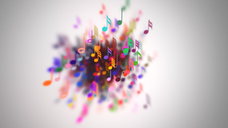 slow motion: Slow motion of the musical notes with depth of field
