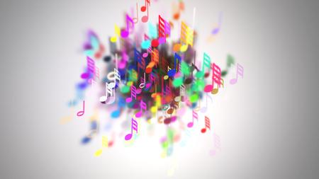 cámara lenta de las notas musicales con la profundidad de campo Foto de archivo
