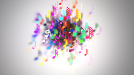 Slow motion of the musical notes with depth of field Stock Photo