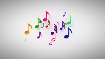Slow motion van de muzieknoten met scherptediepte