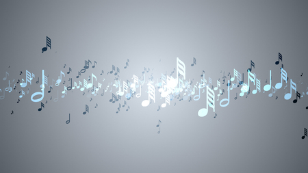 Slow motion of the musical notes with depth of field