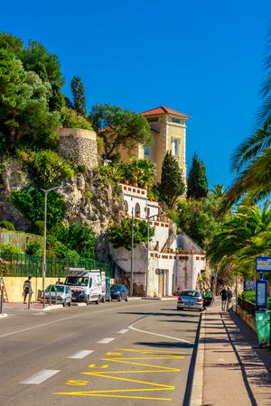 Uitzicht op het prachtige landschap met mediterrane luxe resort. Villefranche-sur-Mer, Nice, Côte d'Azur, Franse Rivièra. Stockfoto