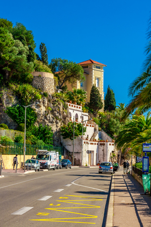 View of beautiful landscape with Mediterranean luxury resort. Villefranche-sur-Mer, Nice, Cote dAzur, French Riviera. Stock Photo