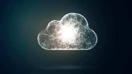 cloud opslag, netwerk conceptie van een groot aantal hosts en communicaties