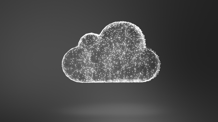 cloud network: 3D illustration: cloud storage, network conception from a plurality of hosts and communications Stock Photo