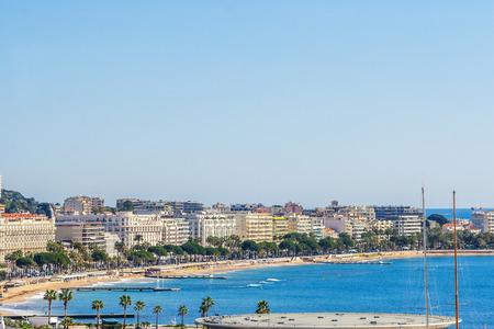 Panoramic view of Cannes, Promenade de la Croisette, the Croisette and Port Le Vieux of Cannes, France Cote d'Azur 報道画像