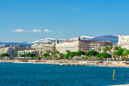 Panoramic view of Cannes, Promenade de la Croisette, the Croisette and Port Le Vieux of Cannes, France Cote d'Azur Editorial