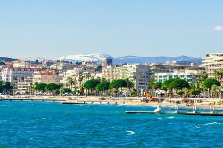 Panoramic view of Cannes, Promenade de la Croisette, the Croisette and Port Le Vieux of Cannes, France Cote dAzur