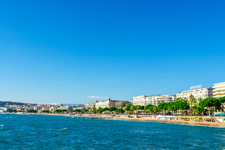 Panoramic view of Cannes, Promenade de la Croisette, the Croisette and Port Le Vieux of Cannes, France Cote d'Azur Stock Photo