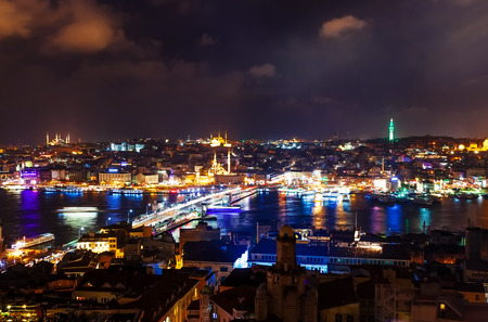 arial: Turkey, Istambul - February 2015, arial view in night from the Galata Tower Stock Photo