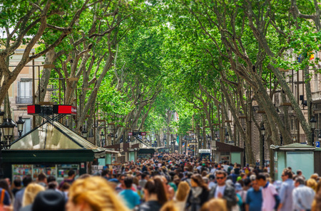 rambla: Barcelona, Spain - May 1, 2015: The busy high street of La Rambla in Barcelona during the day on May 1, 2015, Catalonia, Spain Editorial