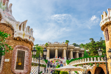 catalunia: Barcelona, Spain - May 1, 2015: Barcelona Attractions, Park Guell by architect Antoni Gaudi in Barcelona, Catalonia, Spain.