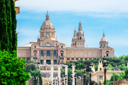espanya: Barcelona, Spain - May 2, 2015: Barcelona Attractions, National Museum in Barcelona, Placa De Espanya, Catalonia, Spain.