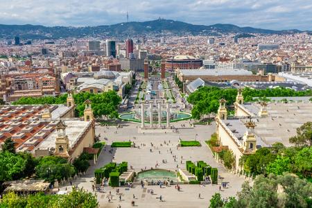 espanya: Barcelona, Spain - May 2, 2015: Barcelona Attractions, Plaza de Espana, Catalonia, Spain.