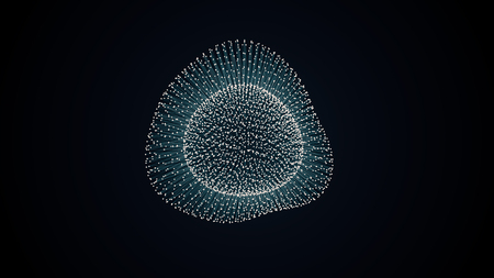 to metamorphose: metamorphose of amorphous shape from dots and lines, abstract animation of future shape
