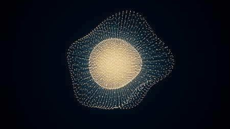 metamorphose: metamorphose of amorphous shape from dots and lines, abstract animation of future shape