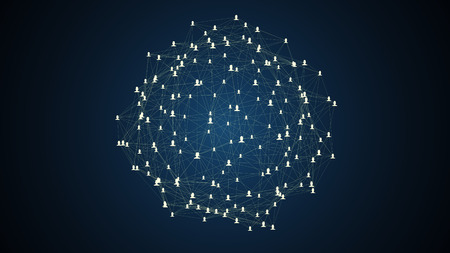 global village: connected avatars of men and women, illustration of network for communication, business relations, social media, technology, global village, community connections
