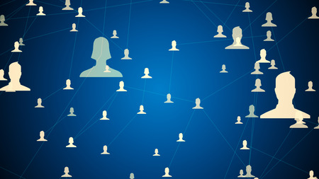 connected avatars of men and women, illustration of network for communication, business relations, social media, community connections, 3D illustration