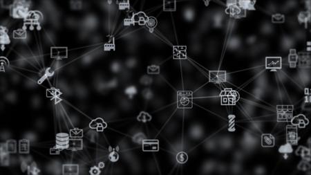 物事、カオスゆっくり動くから背景のインターネット接続のこと 写真素材 - 69648918