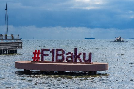 Baku, Azerbaijan - October 2, 2016: Hashtag #F1Baku in Caspian See.  Panoramic view of Baku - the capital of Azerbaijan.
