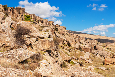 azeri: Rock formations, caves and ancient petroglyphs at Gobustan National Park, Azerbaijan. Stock Photo