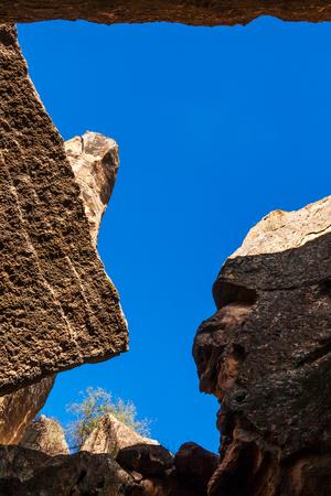 Rock formations, caves and ancient petroglyphs at Gobustan National Park, Azerbaijan. Stock Photo