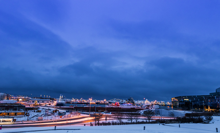 Port in Reykjavik in the lights at Christmas time, Iceland Stock Photo