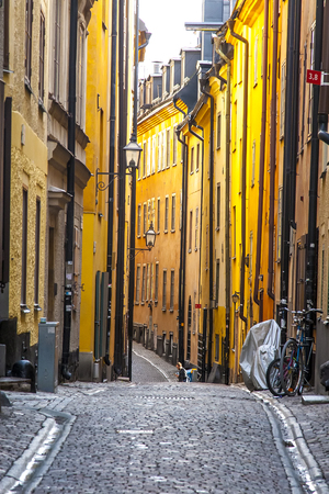 view of old town street in Stockholm at sunny day