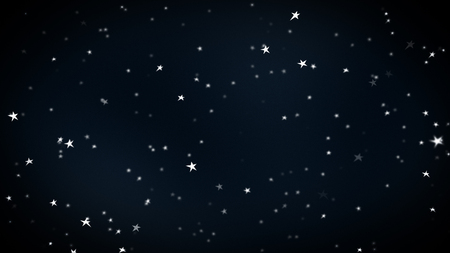 flight in space, children picture with painted cartoon stars,  beautiful wallpaper