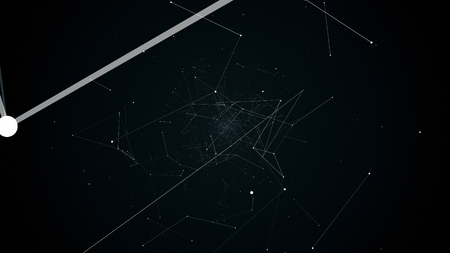 fly during network connections between nodes - dots, illustration flight in geometric abstraction with dots lines and triangles Stock Photo