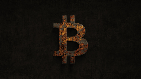 3D illustration, rusting over time bitcoin on a grunge background,  computer generated grunge background Stock Photo