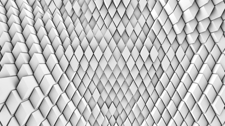 3d illustration, abstract background, volumetric undulating movement of diamonds densely adjacent to each other Stock Photo