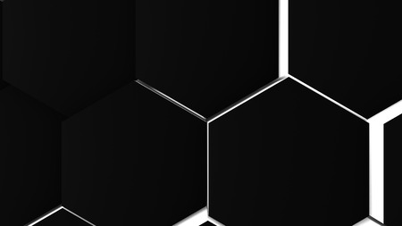 3d illustration, abstract background, volumetric undulating movement of hexagons densely adjacent to each other Stock Photo