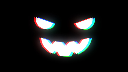 illustration for the holiday halloween, silhouette of halloween pumpkin at night with glitch effect