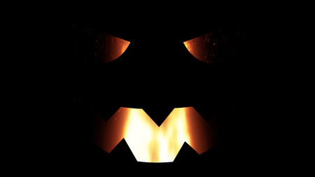 illustration for the holiday halloween, silhouette of halloween pumpkin at night with burning fire inside