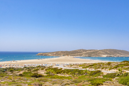 Scenic beach in Prasonisi on Rhodes island, Dodecanese, Greece. Panorama with nice sand beach and clear blue water. Famous tourist destination in South Europe